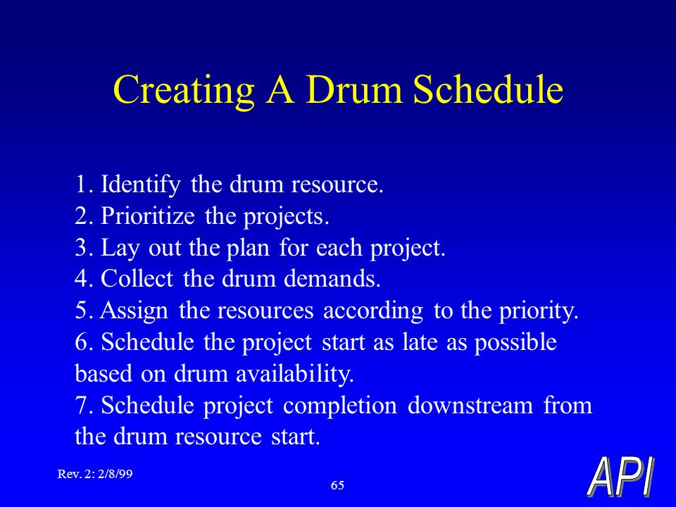 Rev. 2: 2/8/99 65 Creating A Drum Schedule 1. Identify the drum resource. 2. Prioritize the projects. 3. Lay out the plan for each project. 4. Collect