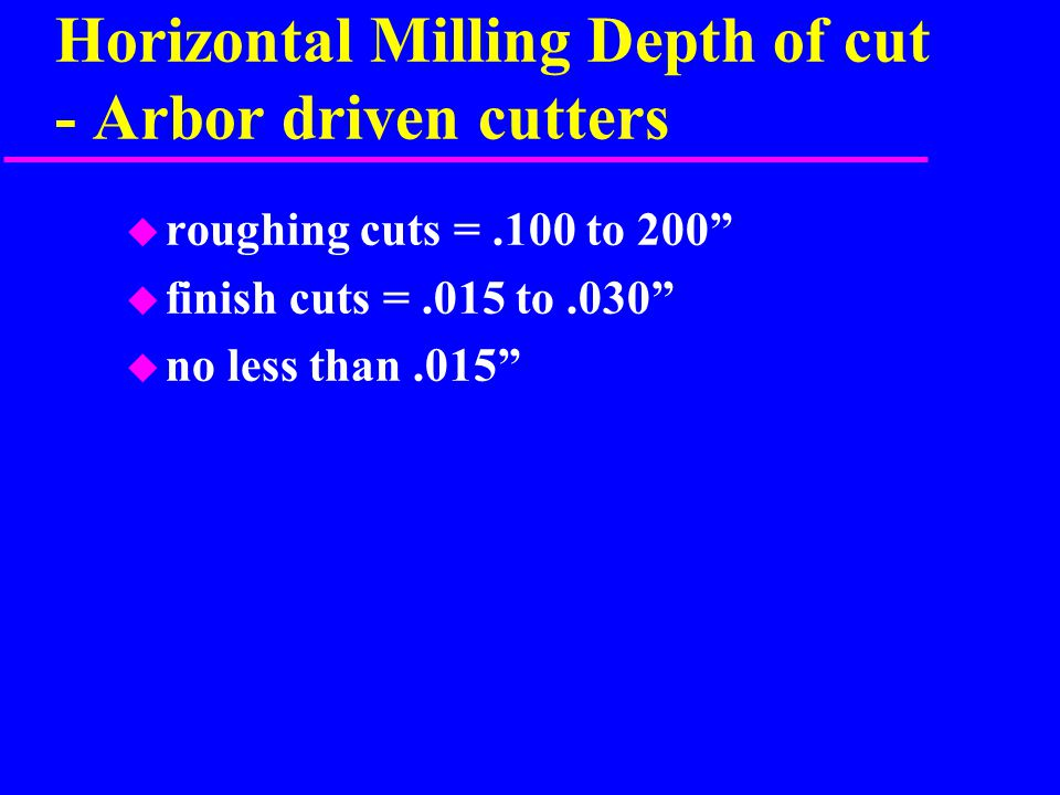 Horizontal Milling Depth of cut - Arbor driven cutters u roughing cuts =.100 to 200 u finish cuts =.015 to.030 u no less than.015