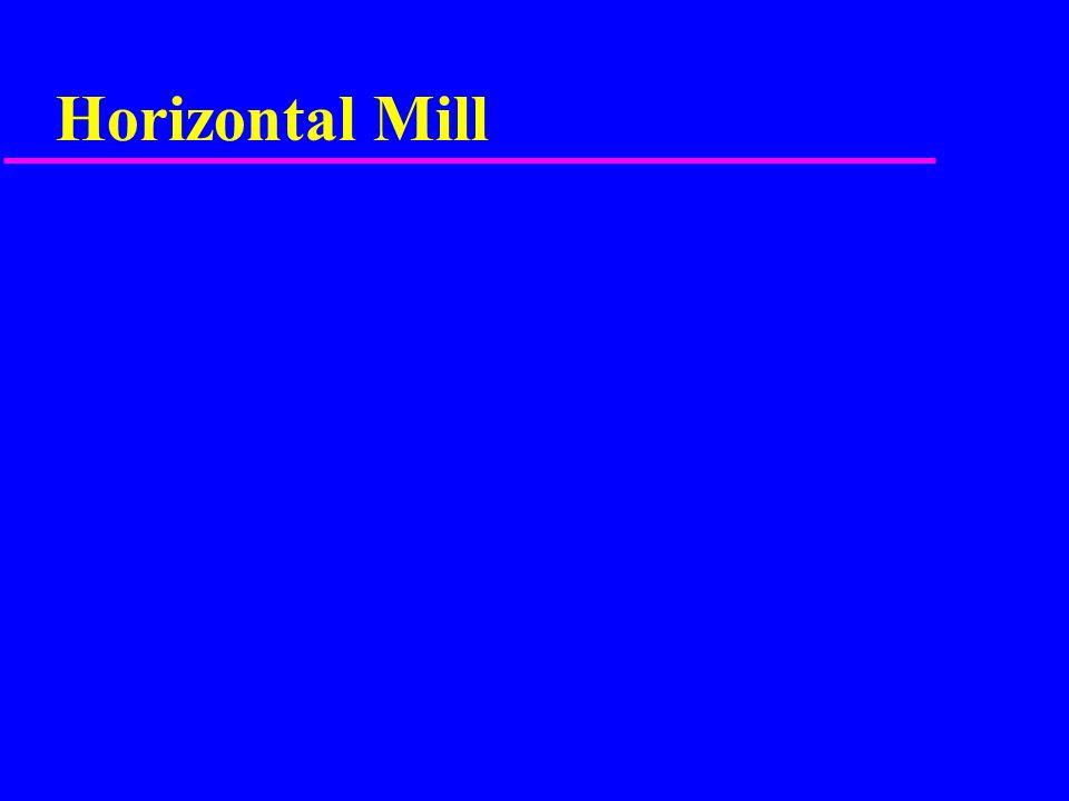 Horizontal Milling Depth of cut - Arbor driven cutters u roughing cuts =.100 to 200 u finish cuts =.015 to.030 u no less than.015
