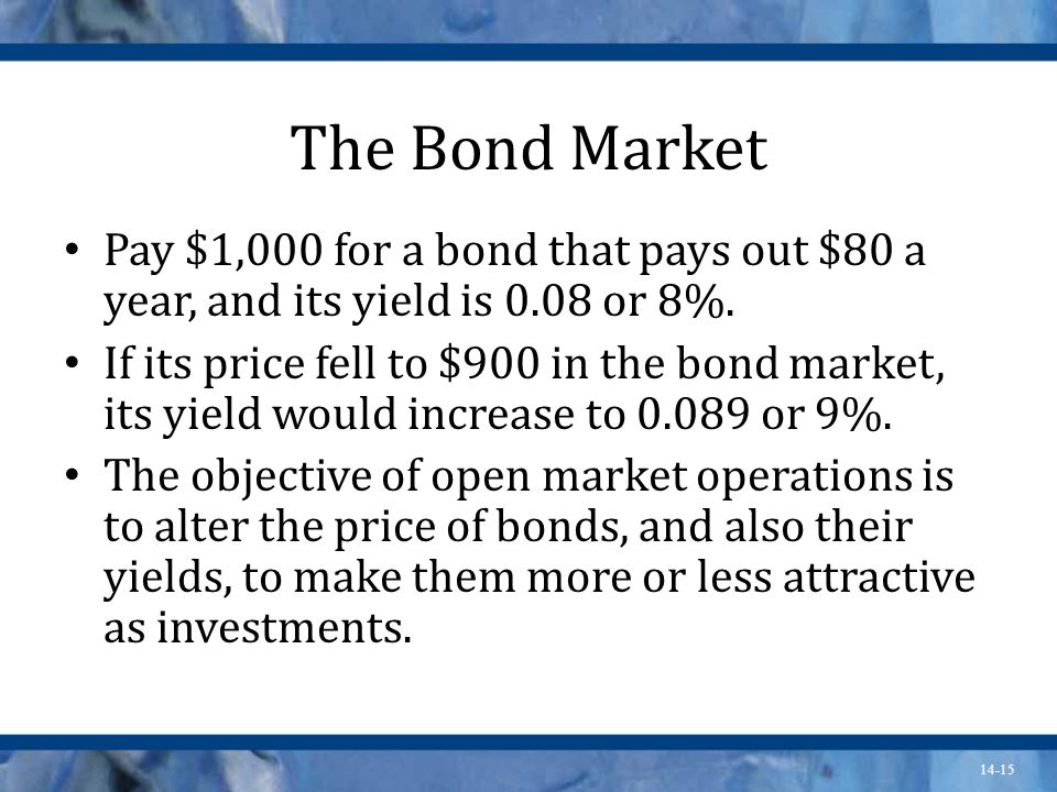 14-15 The Bond Market Pay $1,000 for a bond that pays out $80 a year, and its yield is 0.08 or 8%.