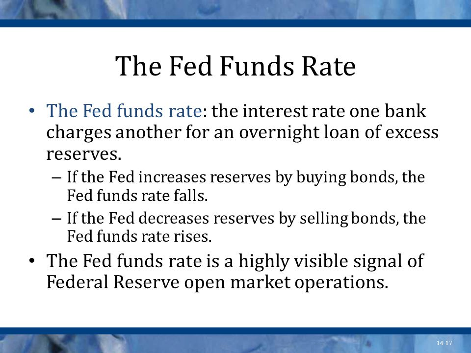 14-17 The Fed Funds Rate The Fed funds rate: the interest rate one bank charges another for an overnight loan of excess reserves.