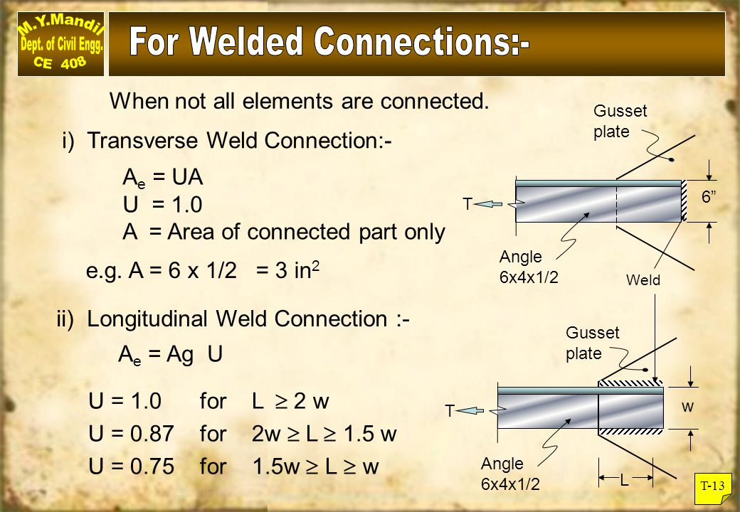 T-14 In bolted connections, the reduction factor (U) is a function of the eccentricity ( ) in the connection.