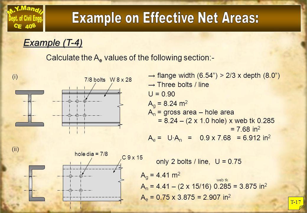(iii) x L 3 x 3 x 3/8 3 ¾ dia bolt x = 0.888 L = 6 in (3+3) x U = 1 - /L = 1 -0.888/6 = 0.852 < 0.9 A g = 2.11 in 2 A n = 2.11 – 1 x (3/4 + 1/8) x 3/8 = 2.11 -0.328 = 1.782 in 2 A e = U·A n = 0.852 x 1.782 = 1.518 in 2 Alternative value of U = 0.85 (3 bolts / line) (iv) w 10 x 33 7/8 dia.