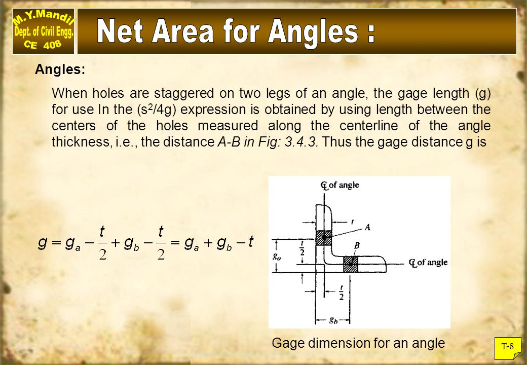 T-8 Angles: When holes are staggered on two legs of an angle, the gage length (g) for use In the (s 2 /4g) expression is obtained by using length betw
