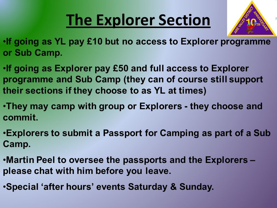 The Explorer Section If going as YL pay £10 but no access to Explorer programme or Sub Camp. If going as Explorer pay £50 and full access to Explorer