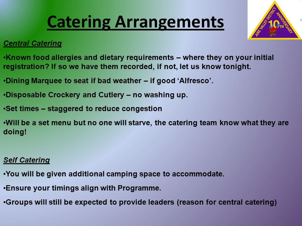 Catering Arrangements Central Catering Known food allergies and dietary requirements – where they on your initial registration? If so we have them rec