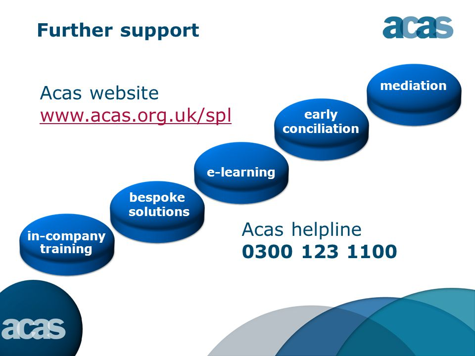 Further support in-company training bespoke solutions e-learning mediation Acas website www.acas.org.uk/spl early conciliation Acas helpline 0300 123