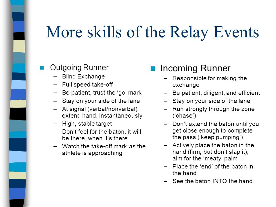 More skills of the Relay Events Outgoing Runner –Blind Exchange –Full speed take-off –Be patient, trust the 'go' mark –Stay on your side of the lane –