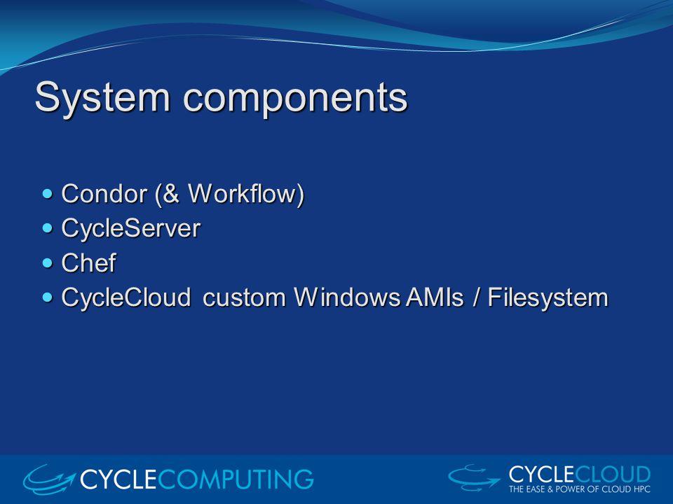 System components Condor (& Workflow) Condor (& Workflow) CycleServer CycleServer Chef Chef CycleCloud custom Windows AMIs / Filesystem CycleCloud cus