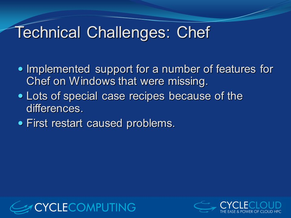 Technical Challenges: Chef Implemented support for a number of features for Chef on Windows that were missing. Implemented support for a number of fea