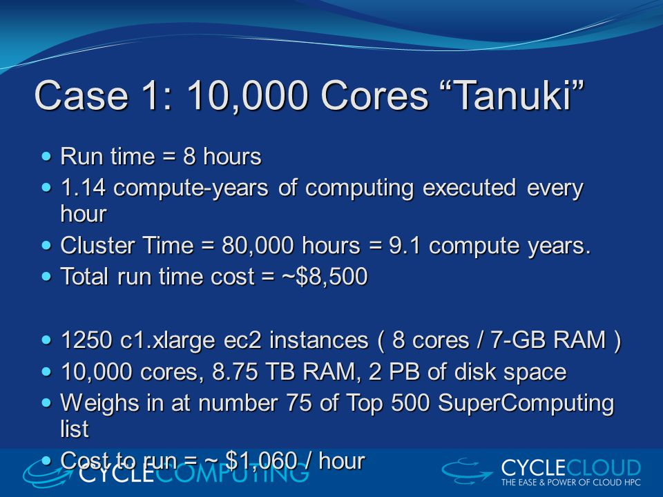 """Case 1: 10,000 Cores """"Tanuki"""" Run time = 8 hours Run time = 8 hours 1.14 compute-years of computing executed every hour 1.14 compute-years of computin"""