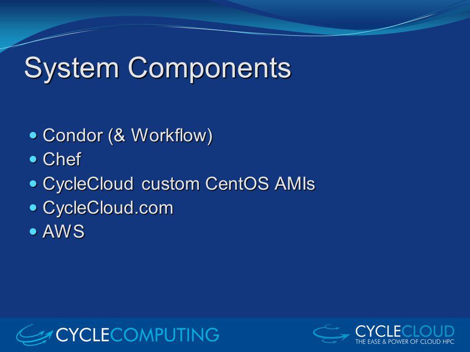 System Components Condor (& Workflow) Condor (& Workflow) Chef Chef CycleCloud custom CentOS AMIs CycleCloud custom CentOS AMIs CycleCloud.com CycleCl