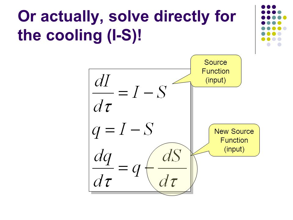 Or actually, solve directly for the cooling (I-S).