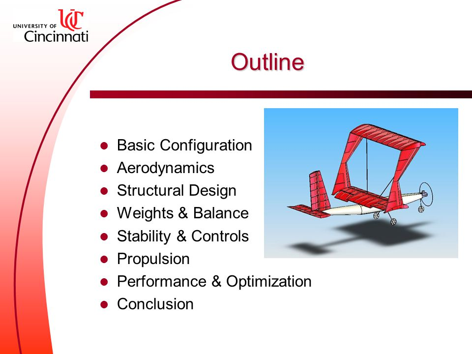 Outline Basic Configuration Aerodynamics Structural Design Weights & Balance Stability & Controls Propulsion Performance & Optimization Conclusion