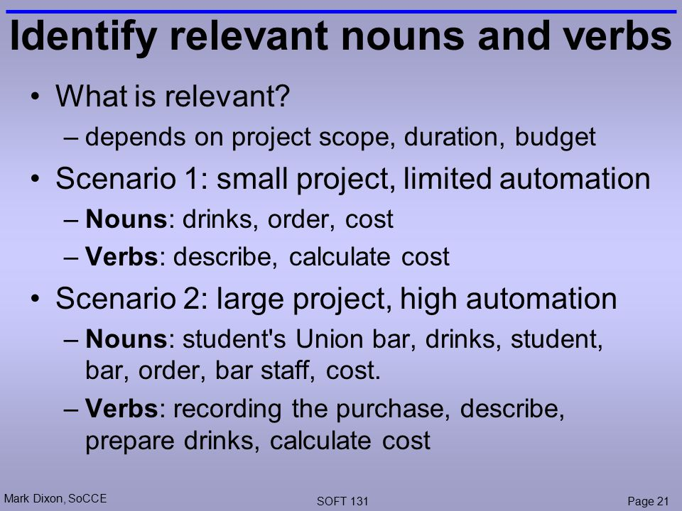 Mark Dixon, SoCCE SOFT 131Page 21 Identify relevant nouns and verbs What is relevant.