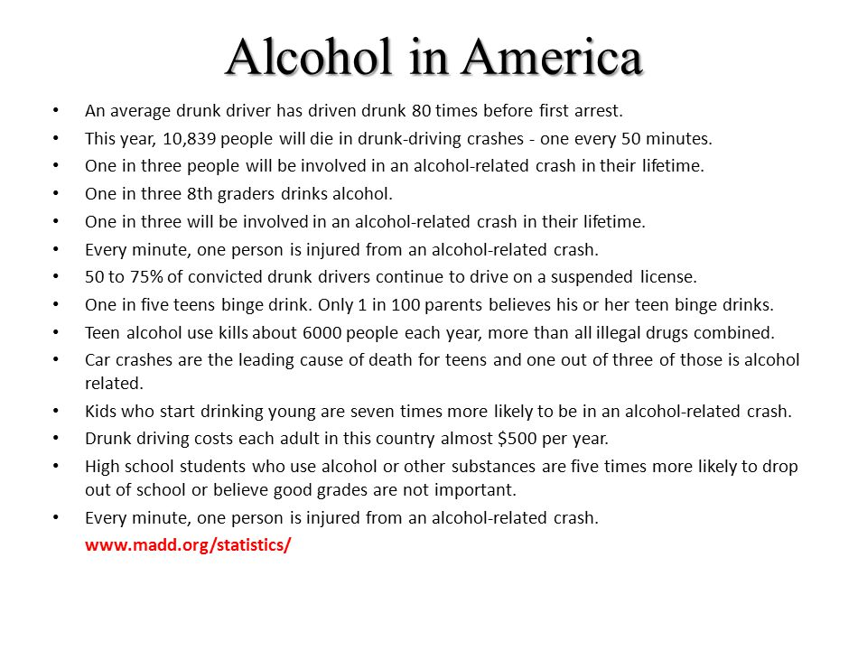 Alcohol in America An average drunk driver has driven drunk 80 times before first arrest. This year, 10,839 people will die in drunk-driving crashes -