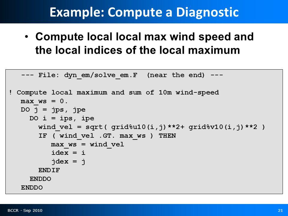 BCCR - Sep 201021 --- File: dyn_em/solve_em.F (near the end) --- ! Compute local maximum and sum of 10m wind-speed max_ws = 0. DO j = jps, jpe DO i =