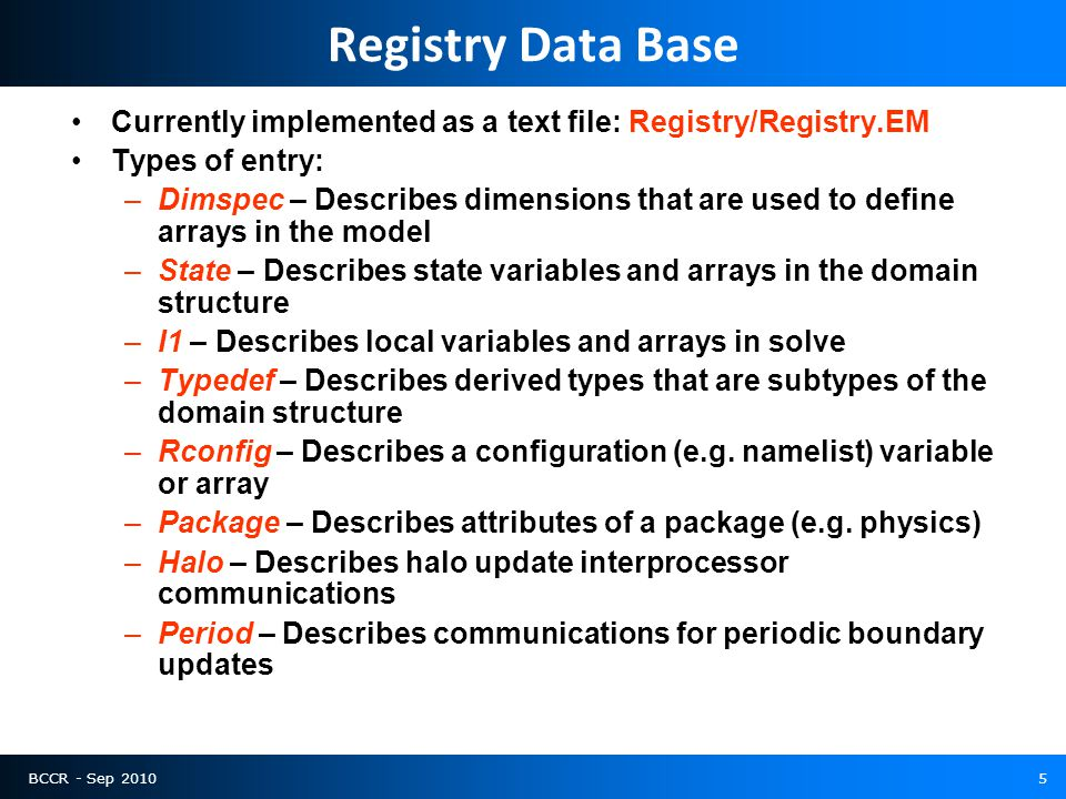 BCCR - Sep 20105 Registry Data Base Currently implemented as a text file: Registry/Registry.EM Types of entry: –Dimspec – Describes dimensions that are used to define arrays in the model –State – Describes state variables and arrays in the domain structure –I1 – Describes local variables and arrays in solve –Typedef – Describes derived types that are subtypes of the domain structure –Rconfig – Describes a configuration (e.g.