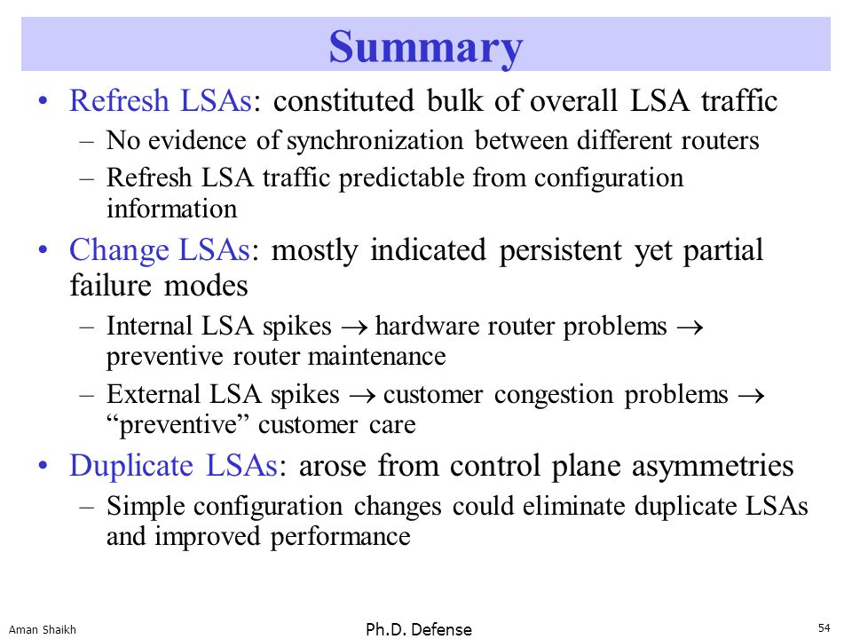 54 Aman Shaikh Ph.D. Defense Summary Refresh LSAs: constituted bulk of overall LSA traffic –No evidence of synchronization between different routers –