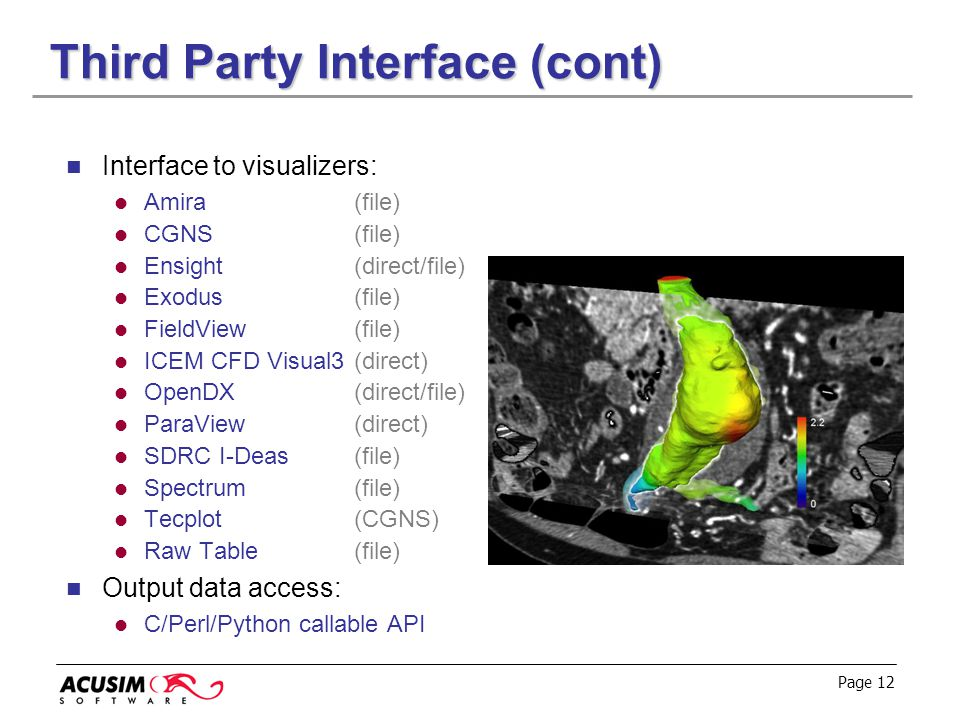 Page 12 Third Party Interface (cont) Interface to visualizers: Amira(file) CGNS(file) Ensight(direct/file) Exodus(file) FieldView (file) ICEM CFD Visu