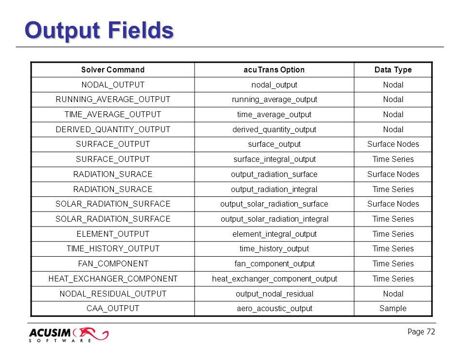 Page 72 Output Fields Solver CommandacuTrans OptionData Type NODAL_OUTPUTnodal_outputNodal RUNNING_AVERAGE_OUTPUTrunning_average_outputNodal TIME_AVER