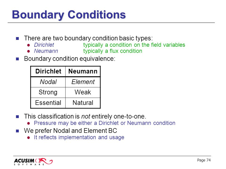 Page 74 Boundary Conditions There are two boundary condition basic types: Dirichlettypically a condition on the field variables Neumanntypically a flu