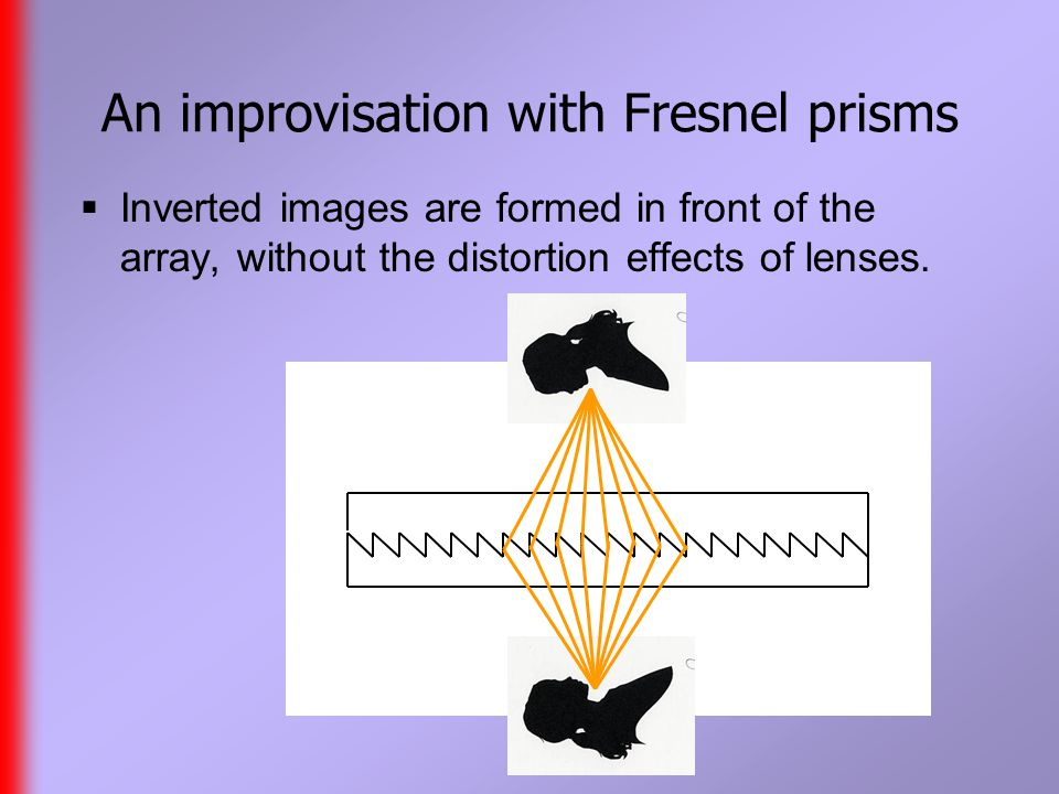 An improvisation with Fresnel prisms  Inverted images are formed in front of the array, without the distortion effects of lenses.