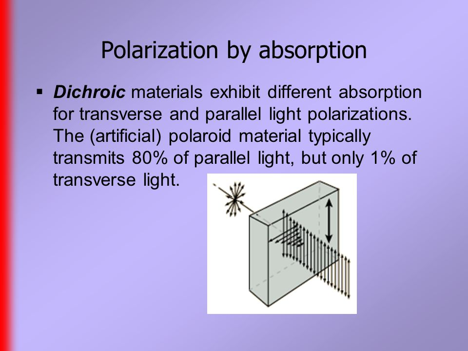 Polarization by absorption  Dichroic materials exhibit different absorption for transverse and parallel light polarizations.
