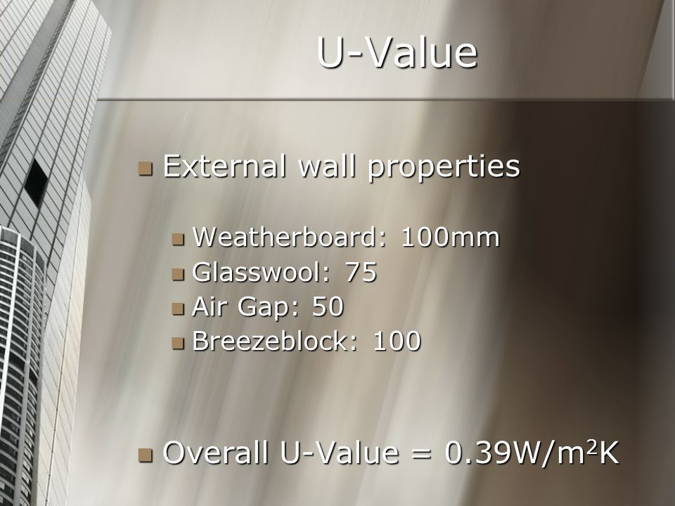 U-Value External wall properties External wall properties Weatherboard: 100mm Weatherboard: 100mm Glasswool: 75 Glasswool: 75 Air Gap: 50 Air Gap: 50 Breezeblock: 100 Breezeblock: 100 Overall U-Value = 0.39W/m 2 K Overall U-Value = 0.39W/m 2 K
