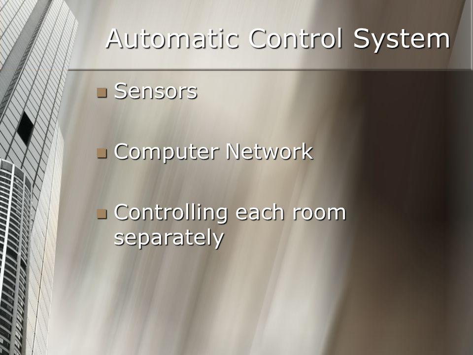 Automatic Control System Sensors Sensors Computer Network Computer Network Controlling each room separately Controlling each room separately