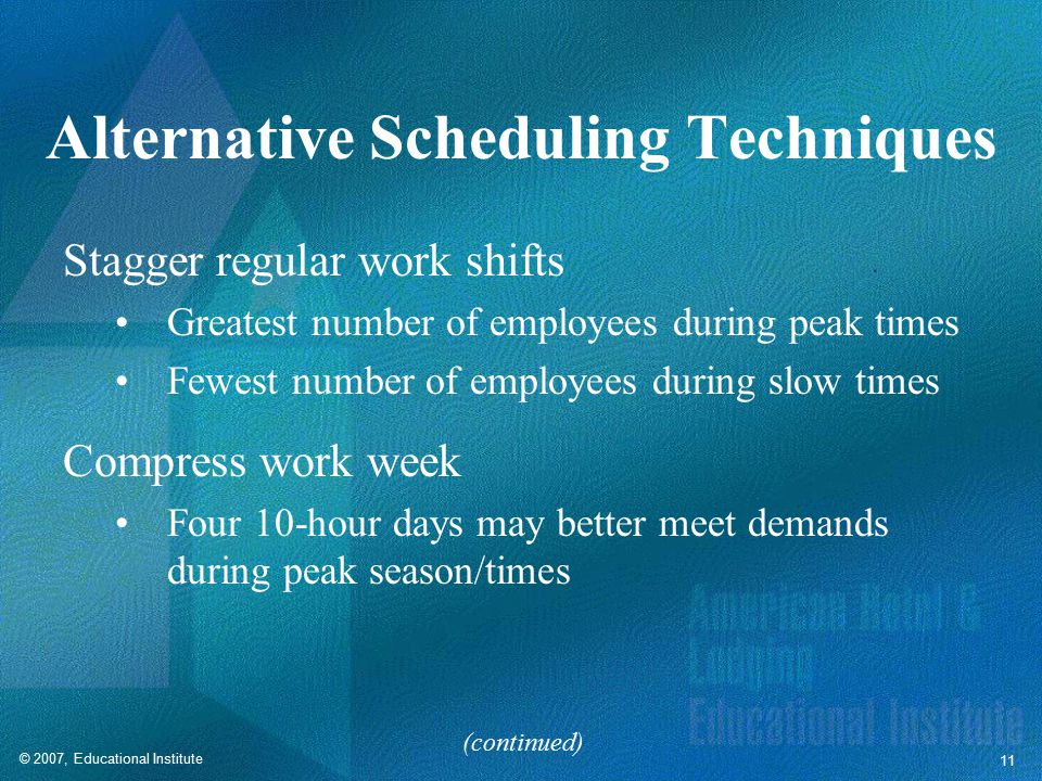 © 2007, Educational Institute 11 Alternative Scheduling Techniques Stagger regular work shifts Greatest number of employees during peak times Fewest number of employees during slow times Compress work week Four 10-hour days may better meet demands during peak season/times (continued)