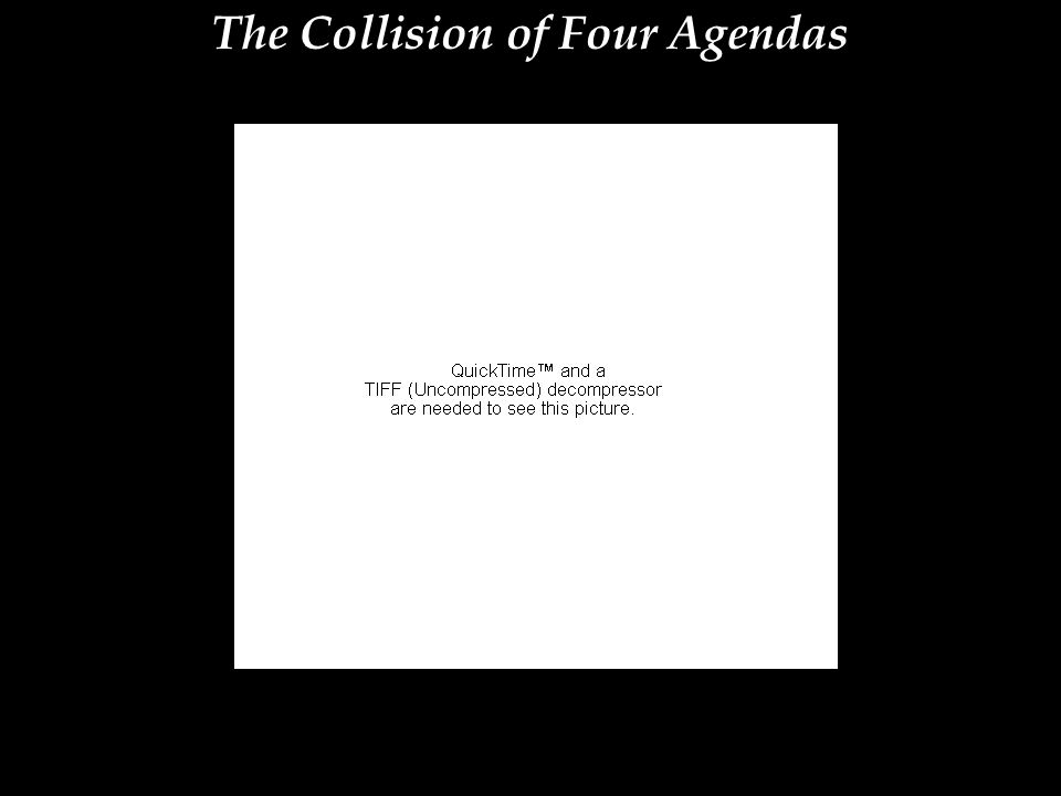The Collision of Four Agendas