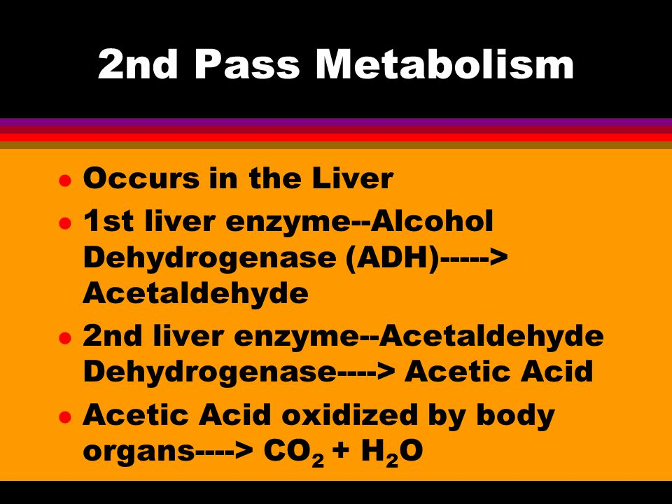 2nd Pass Metabolism l Occurs in the Liver l 1st liver enzyme--Alcohol Dehydrogenase (ADH)-----> Acetaldehyde l 2nd liver enzyme--Acetaldehyde Dehydrogenase----> Acetic Acid l Acetic Acid oxidized by body organs----> CO 2 + H 2 O