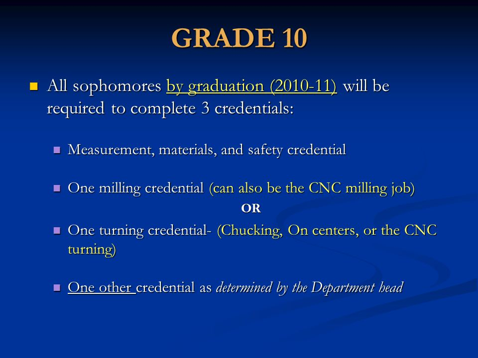 GRADE 10 All sophomores by graduation (2010-11) will be required to complete 3 credentials: All sophomores by graduation (2010-11) will be required to complete 3 credentials: Measurement, materials, and safety credential Measurement, materials, and safety credential One milling credential (can also be the CNC milling job) One milling credential (can also be the CNC milling job)OR One turning credential- (Chucking, On centers, or the CNC turning) One turning credential- (Chucking, On centers, or the CNC turning) One other credential as determined by the Department head One other credential as determined by the Department head