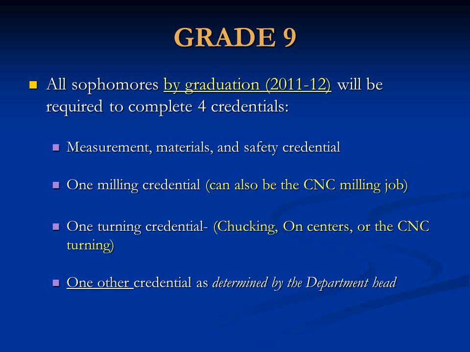 GRADE 9 All sophomores by graduation (2011-12) will be required to complete 4 credentials: All sophomores by graduation (2011-12) will be required to complete 4 credentials: Measurement, materials, and safety credential Measurement, materials, and safety credential One milling credential (can also be the CNC milling job) One milling credential (can also be the CNC milling job) One turning credential- (Chucking, On centers, or the CNC turning) One turning credential- (Chucking, On centers, or the CNC turning) One other credential as determined by the Department head One other credential as determined by the Department head