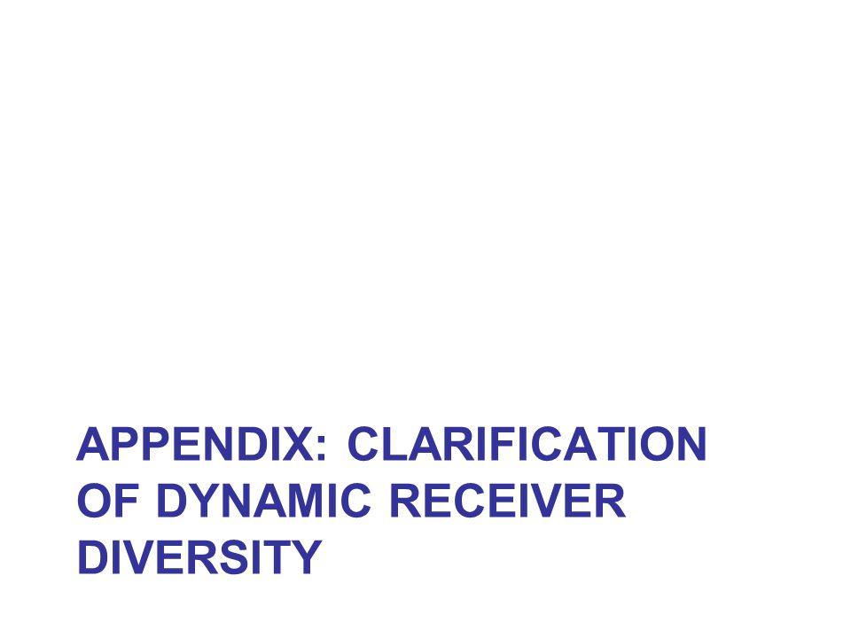 APPENDIX: CLARIFICATION OF DYNAMIC RECEIVER DIVERSITY