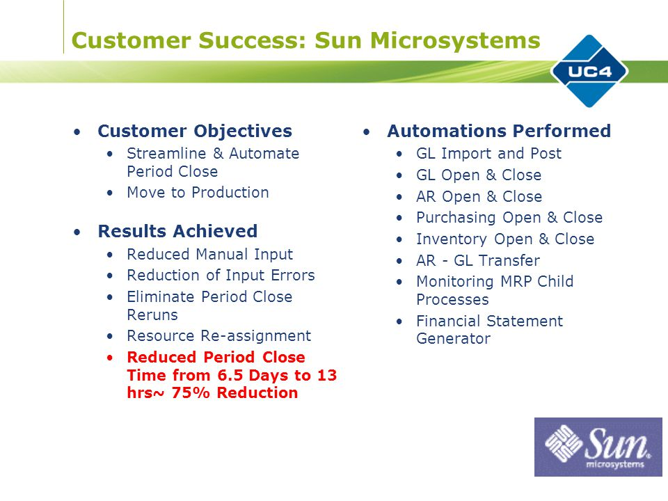 Customer Success: Sun Microsystems Customer Objectives Streamline & Automate Period Close Move to Production Results Achieved Reduced Manual Input Reduction of Input Errors Eliminate Period Close Reruns Resource Re-assignment Reduced Period Close Time from 6.5 Days to 13 hrs~ 75% Reduction Automations Performed GL Import and Post GL Open & Close AR Open & Close Purchasing Open & Close Inventory Open & Close AR - GL Transfer Monitoring MRP Child Processes Financial Statement Generator