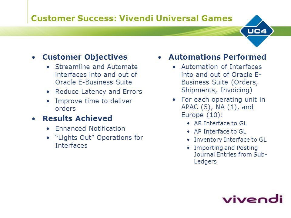 Customer Success: Vivendi Universal Games Customer Objectives Streamline and Automate interfaces into and out of Oracle E-Business Suite Reduce Latency and Errors Improve time to deliver orders Results Achieved Enhanced Notification Lights Out Operations for Interfaces Automations Performed Automation of Interfaces into and out of Oracle E- Business Suite (Orders, Shipments, Invoicing) For each operating unit in APAC (5), NA (1), and Europe (10): AR Interface to GL AP Interface to GL Inventory Interface to GL Importing and Posting Journal Entries from Sub- Ledgers