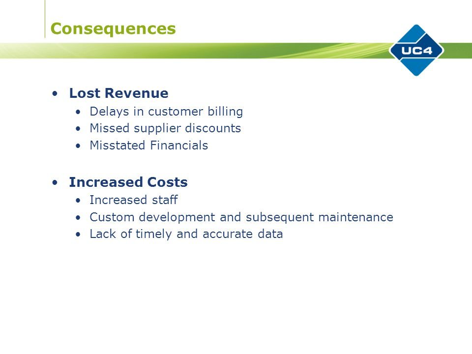 Consequences Lost Revenue Delays in customer billing Missed supplier discounts Misstated Financials Increased Costs Increased staff Custom development and subsequent maintenance Lack of timely and accurate data