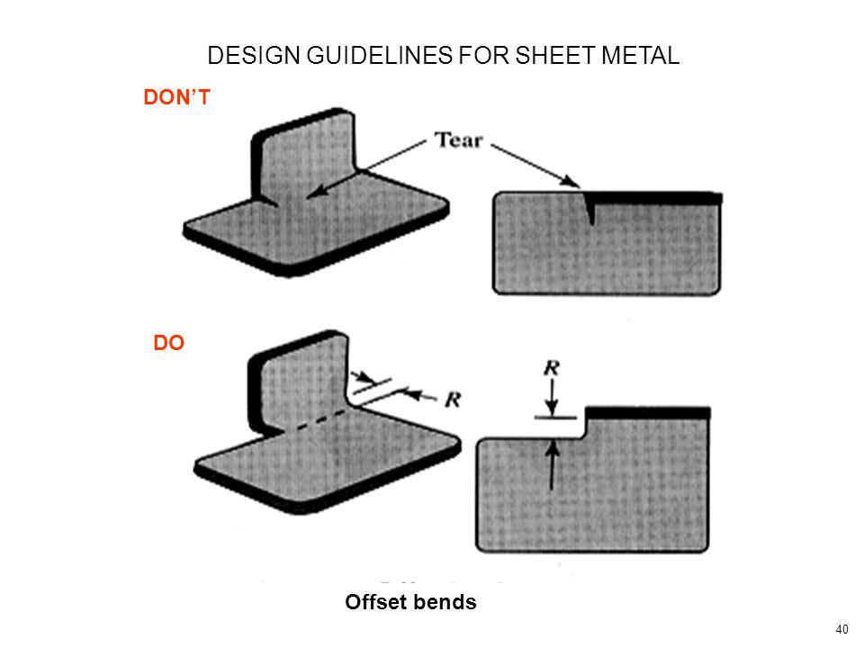 40 DON'T DO Offset bends DESIGN GUIDELINES FOR SHEET METAL
