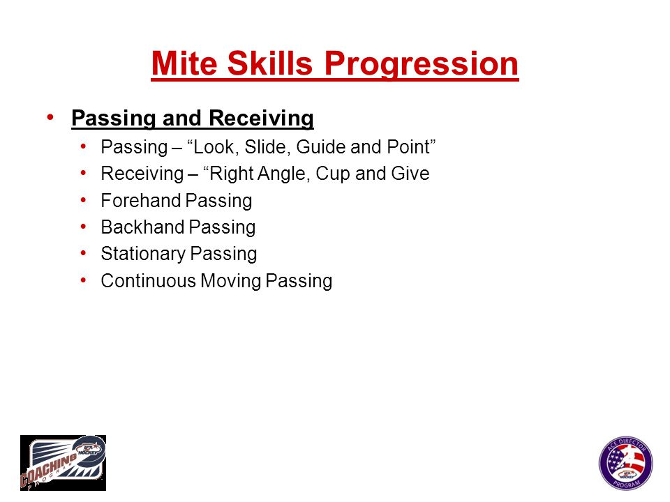 "Mite Skills Progression Passing and Receiving Passing – ""Look, Slide, Guide and Point"" Receiving – ""Right Angle, Cup and Give Forehand Passing Backhan"
