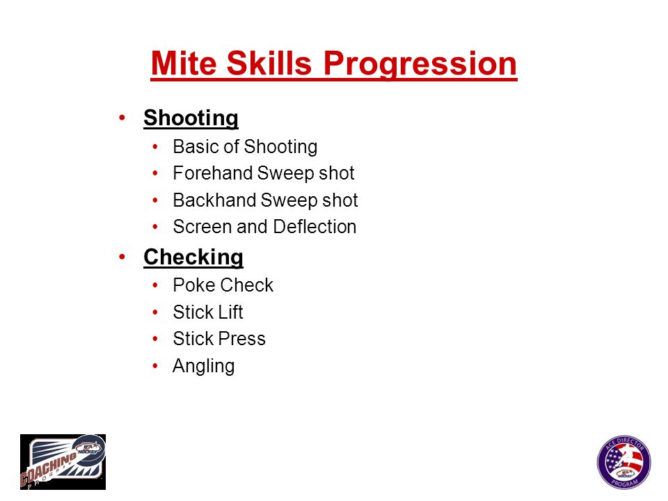 Mite Skills Progression Shooting Basic of Shooting Forehand Sweep shot Backhand Sweep shot Screen and Deflection Checking Poke Check Stick Lift Stick
