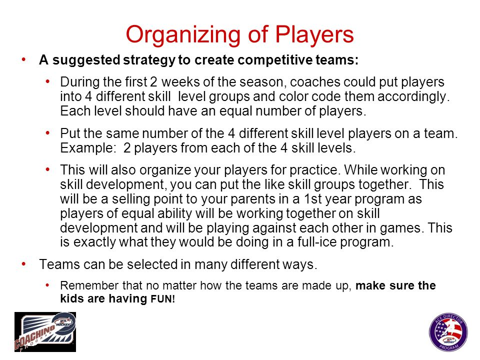 Organizing of Players A suggested strategy to create competitive teams: During the first 2 weeks of the season, coaches could put players into 4 diffe