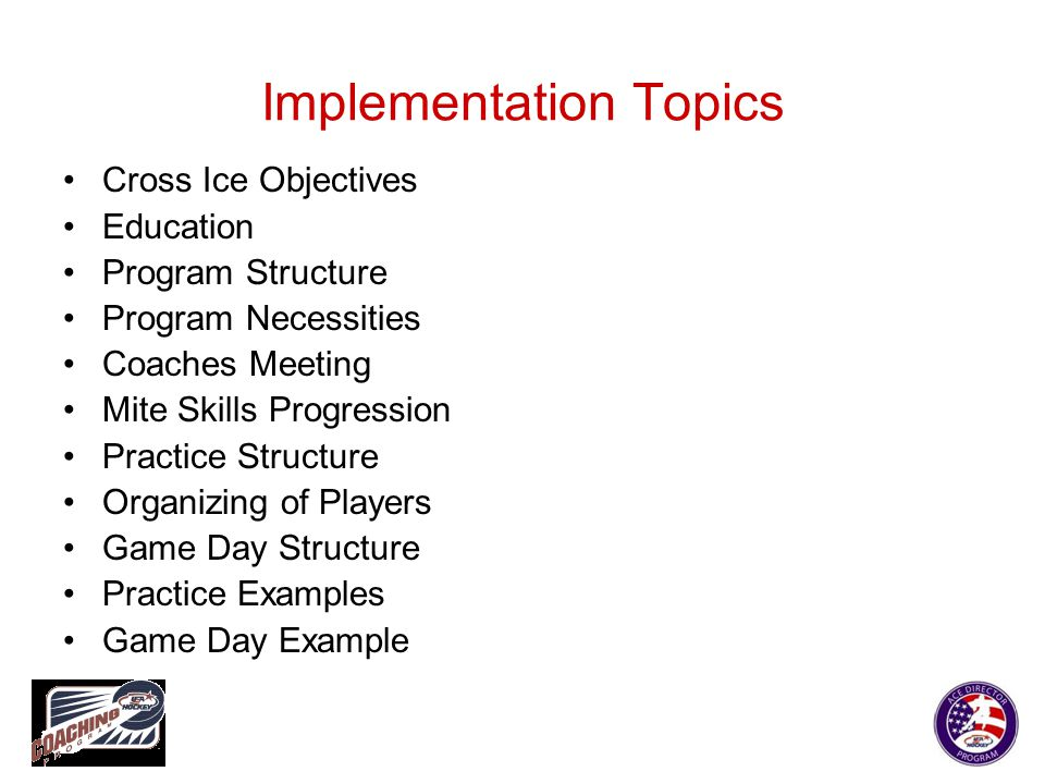 Implementation Topics Cross Ice Objectives Education Program Structure Program Necessities Coaches Meeting Mite Skills Progression Practice Structure