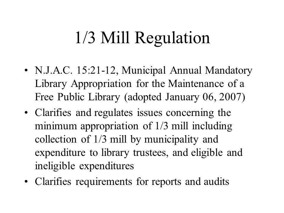 1/3 Mill Regulation N.J.A.C.