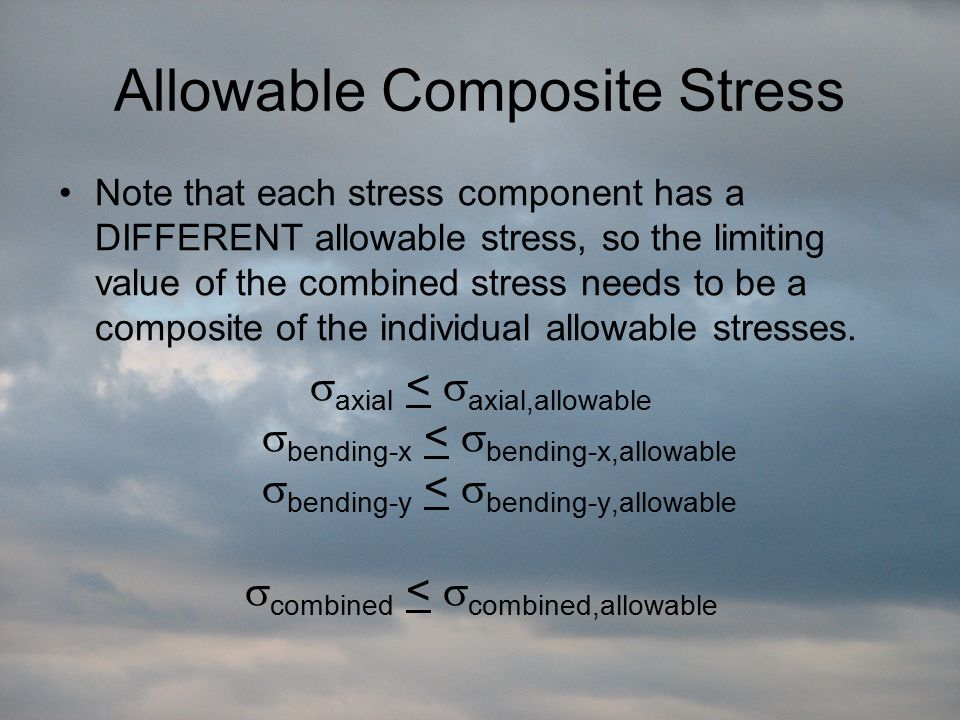 Allowable Composite Stress Note that each stress component has a DIFFERENT allowable stress, so the limiting value of the combined stress needs to be a composite of the individual allowable stresses.