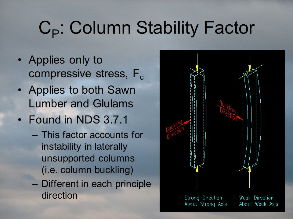 C P : Column Stability Factor Applies only to compressive stress, F c Applies to both Sawn Lumber and Glulams Found in NDS 3.7.1 –This factor accounts for instability in laterally unsupported columns (i.e.