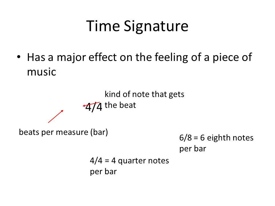 Time Signature Has a major effect on the feeling of a piece of music 4/4 beats per measure (bar) kind of note that gets the beat 4/4 = 4 quarter notes per bar 6/8 = 6 eighth notes per bar