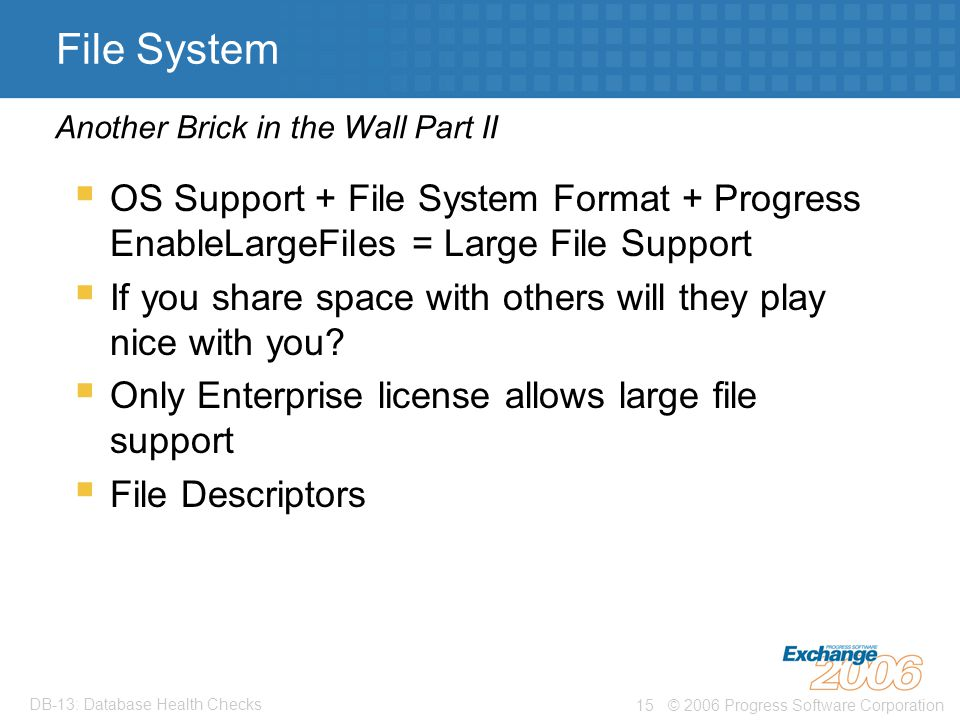 © 2006 Progress Software Corporation15 DB-13: Database Health Checks File System  OS Support + File System Format + Progress EnableLargeFiles = Large File Support  If you share space with others will they play nice with you.