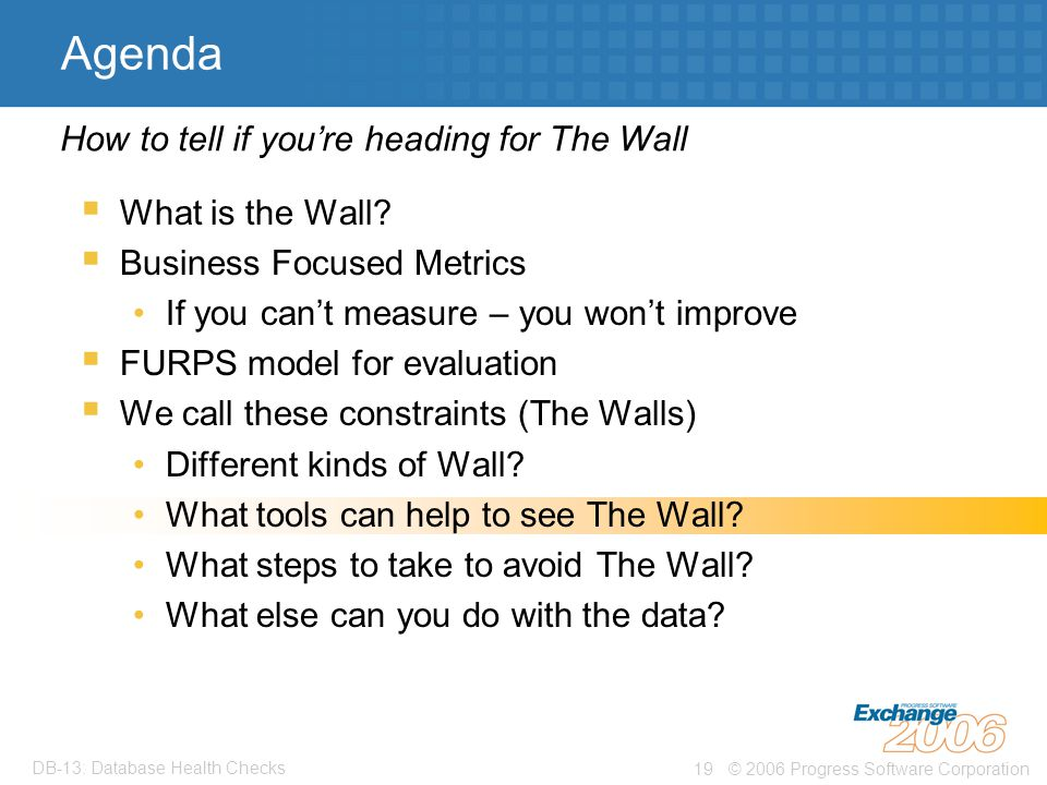 © 2006 Progress Software Corporation19 DB-13: Database Health Checks Agenda  What is the Wall.